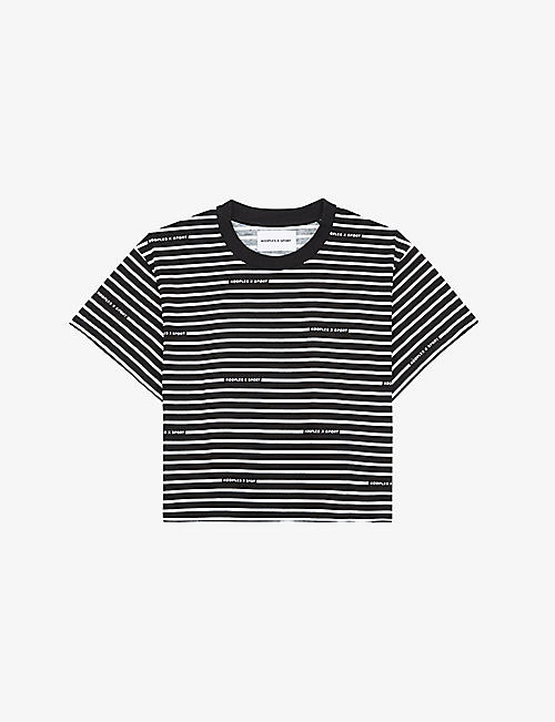 THE KOOPLES SPORT: Striped brand-print cotton-jersey T-shirt