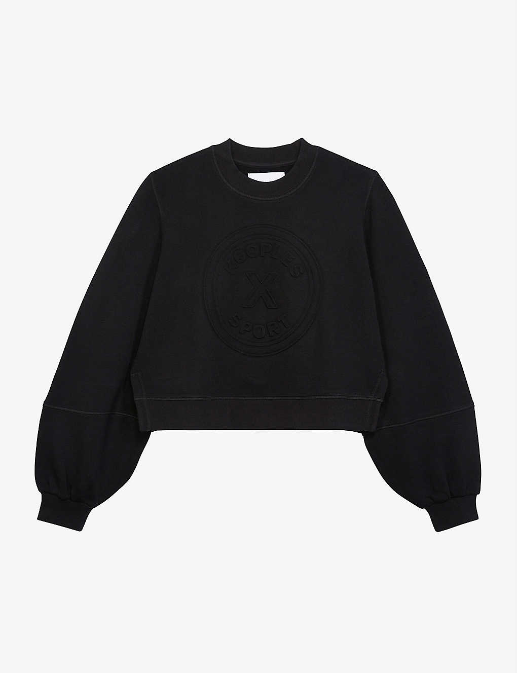 THE KOOPLES SPORT: Puffed-sleeve cropped cotton-blend jersey sweatshirt