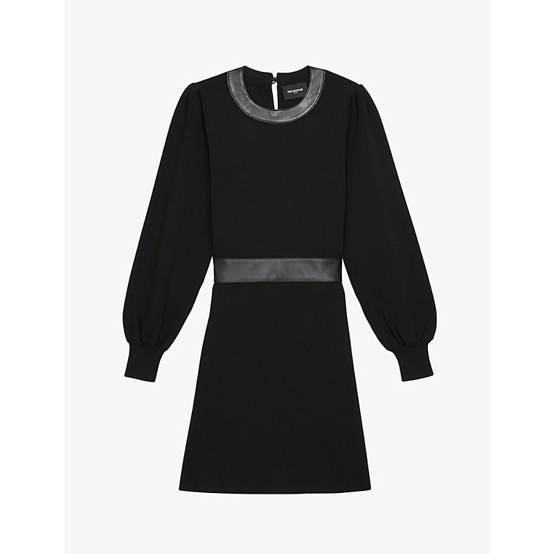 The Kooples LEATHER-TRIM WOVEN MINI DRESS