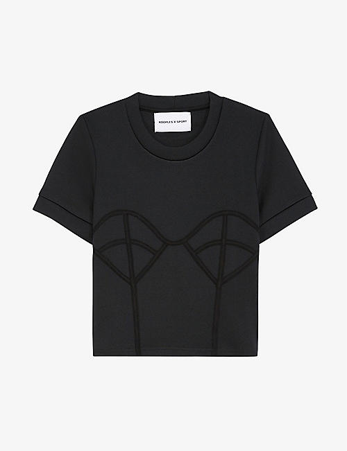 THE KOOPLES SPORT: Corset-detail stretch-jersey T-shirt