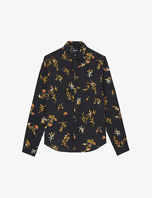 THE KOOPLES: Graphic-pattern spread-collar crepe shirt
