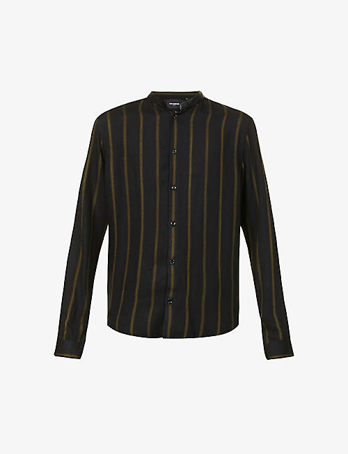 THE KOOPLES: Mandarin-collar striped crepe shirt
