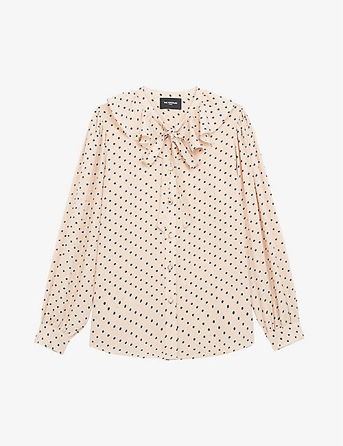 THE KOOPLES: Polka-dot silk-crepe shirt