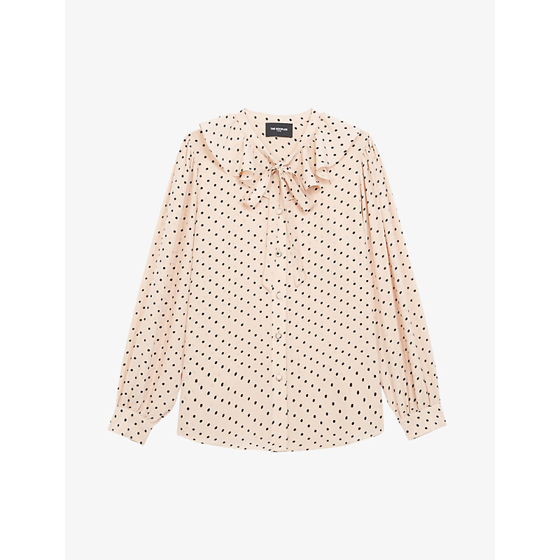 The Kooples POLKA-DOT SILK-CREPE SHIRT