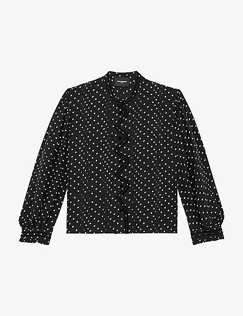 THE KOOPLES: Polka-dot crepe and velvet blouse