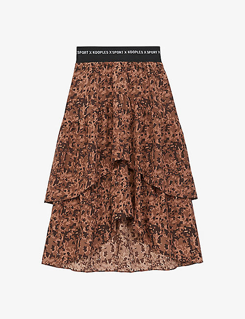 THE KOOPLES SPORT: Graphic-print crepe midi skirt