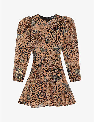 THE KOOPLES: Leopard-print crepe mini dress