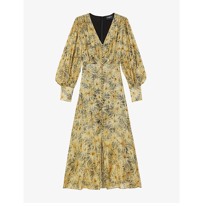 The Kooples FLORAL-PRINT CREPE MIDI DRESS