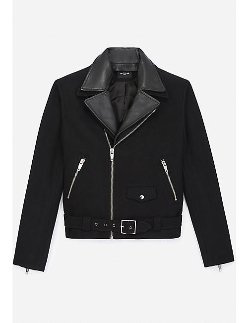 THE KOOPLES: Belted notch-lapel cashmere and wool-blend bomber jacket