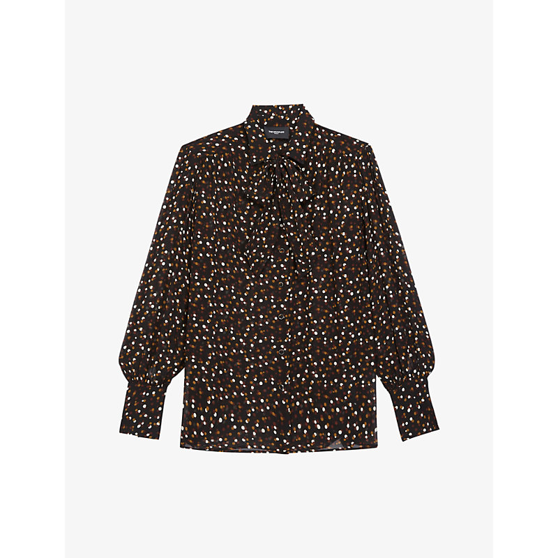 The Kooples POLKA-DOT CREPE PUSSY-BOW SHIRT