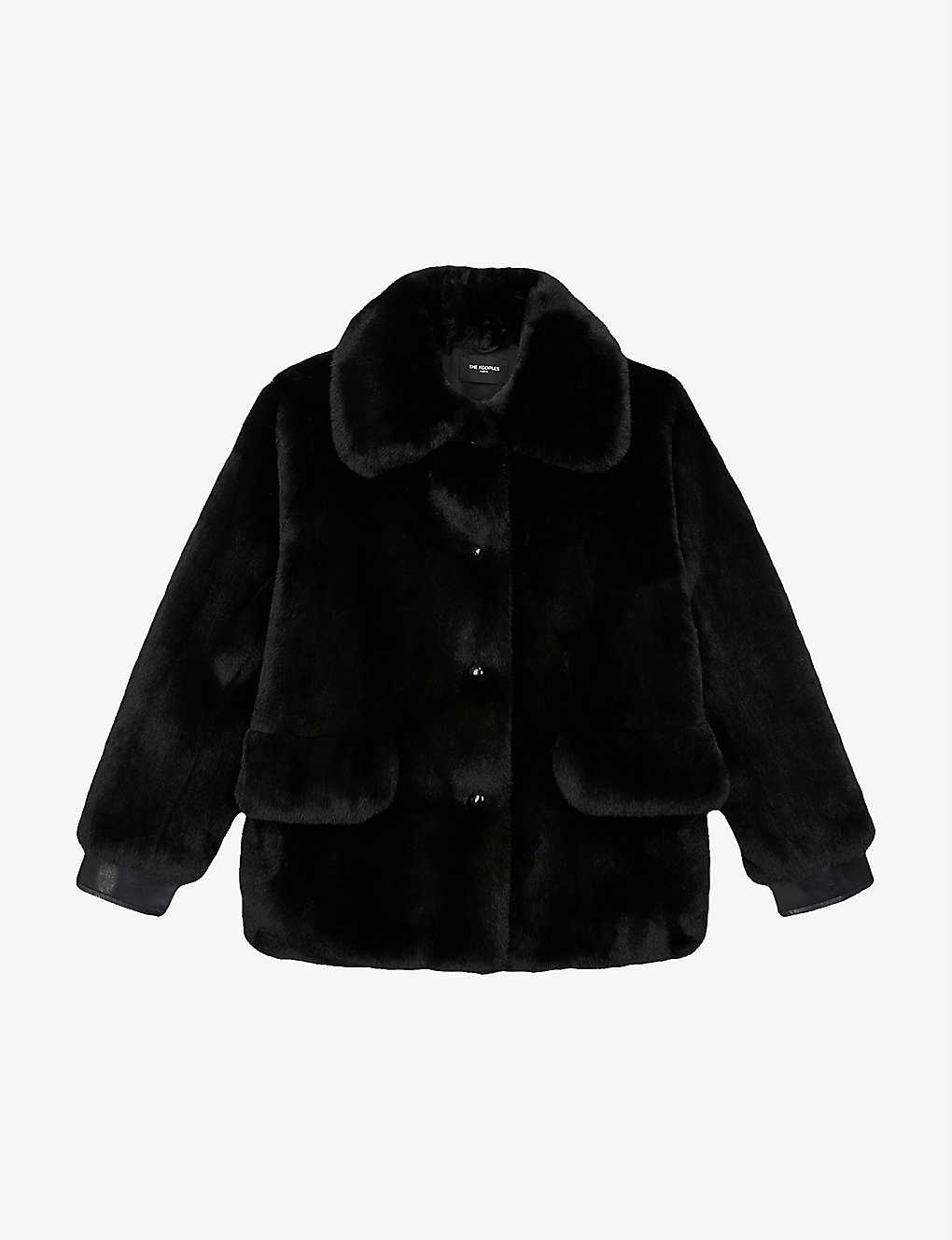 THE KOOPLES: Leather and faux-fur cropped jacket