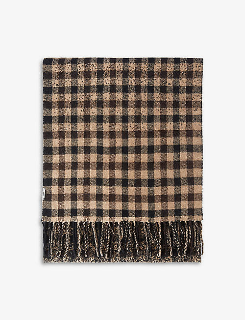 THE KOOPLES: Houndstooth-pattern wool and cashmere-blend scarf