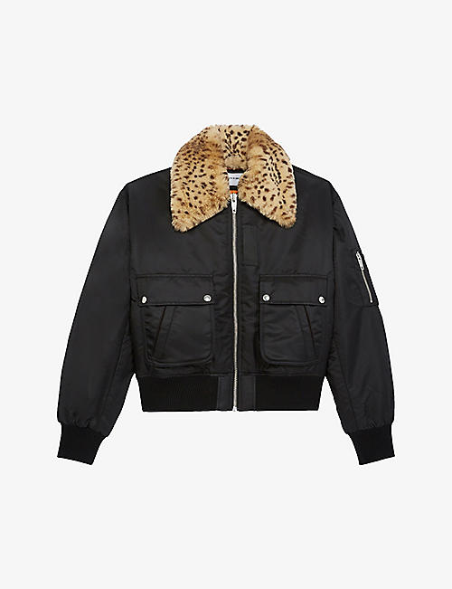 THE KOOPLES SPORT: Leopard-print faux-fur collar technical fabric bomber jacket