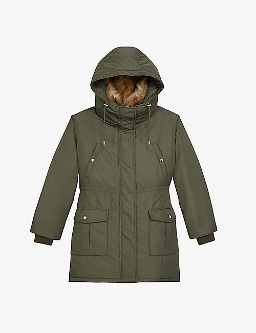 THE KOOPLES: Faux-fur woven parka coat