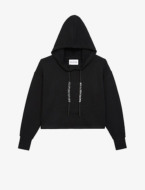 THE KOOPLES SPORT: Logo-back cropped cotton and modal-blend hoody