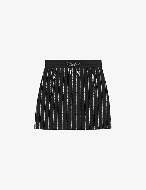 THE KOOPLES SPORT: Brand-print cotton-blend mini skirt