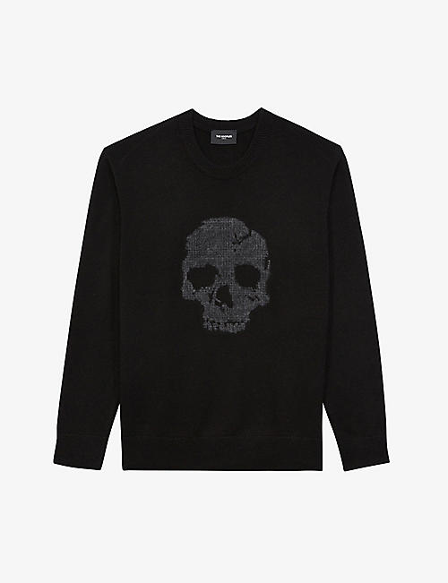 THE KOOPLES: Skull-embroidered wool-blend jumper