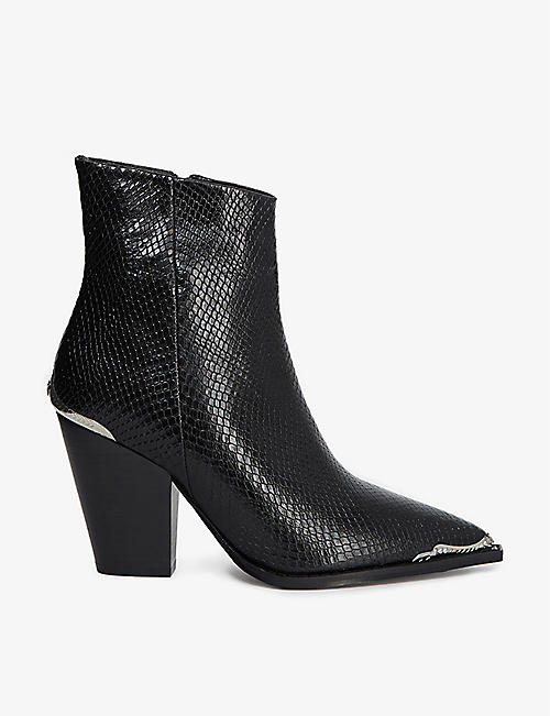 THE KOOPLES: Snakeskin-embossed leather ankle boots