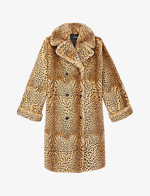 THE KOOPLES: Double-breasted animal-print faux-fur coat