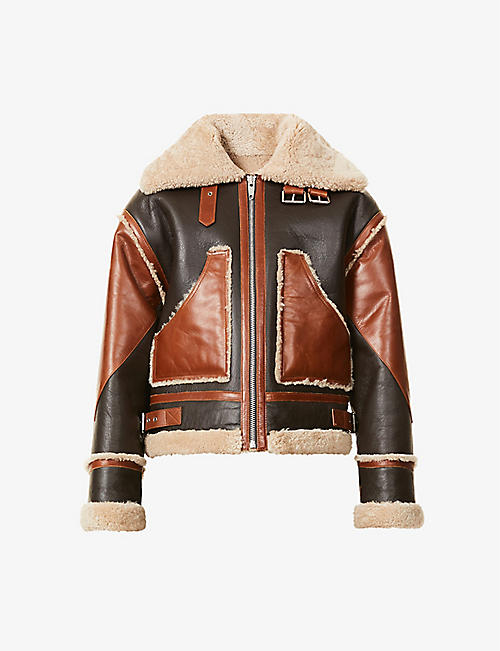 THE KOOPLES: Patchwork shearling and leather jacket