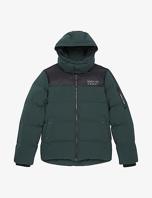 THE KOOPLES SPORT: Hooded contrast-panel shell-down puffer jacket