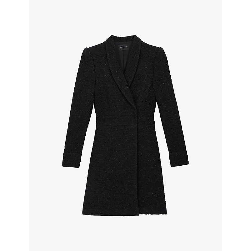 The Kooples SUIT JACKET-STYLE TWEED MIDI DRESS