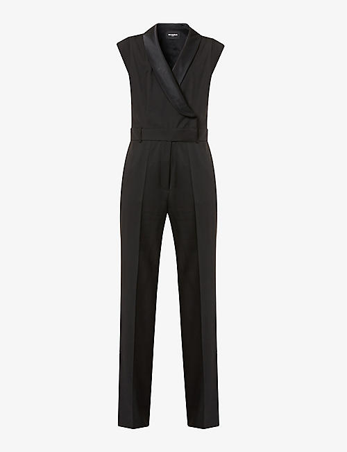 THE KOOPLES: V-neck sleeveless wool and satin jumpsuit