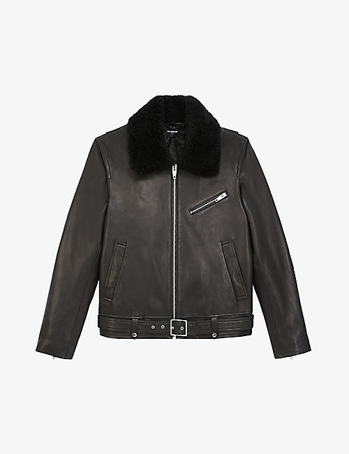 THE KOOPLES: Sheepskin-collar leather jacket