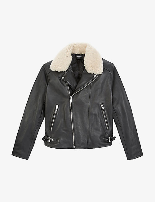 THE KOOPLES: Shearling-collar leather biker jacket