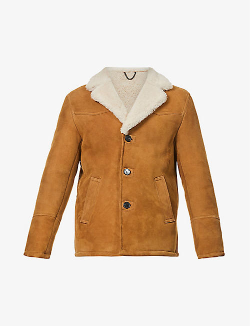 THE KOOPLES: Collared notch-lapel shearling jacket