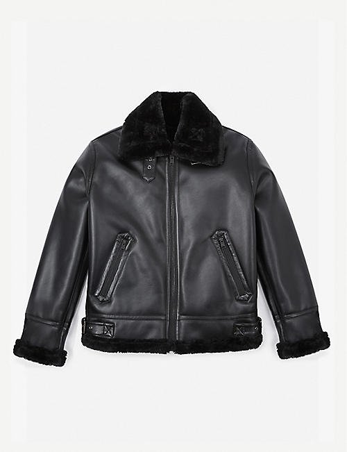 THE KOOPLES SPORT: Contrast-collar faux-leather bomber jacket
