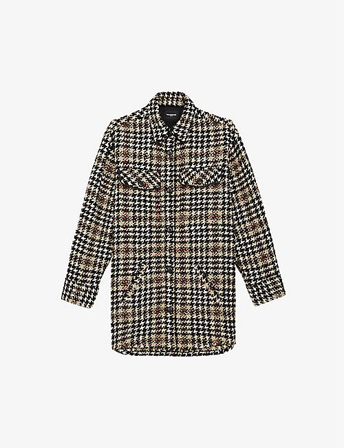 THE KOOPLES: Houndstooth checked woven coat