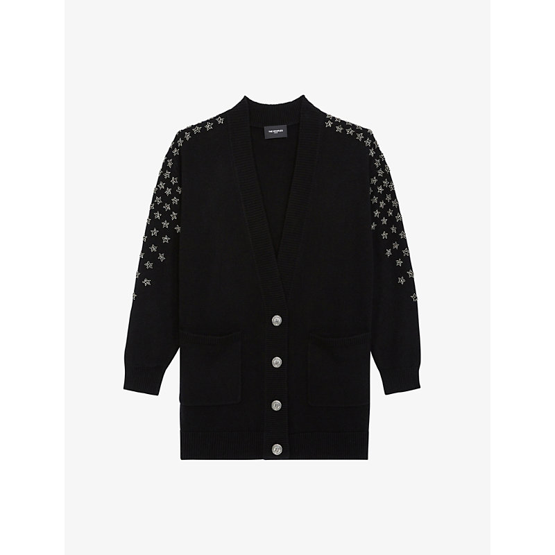 The Kooples STAR-EMBROIDERED WOOL AND CASHMERE-BLEND CARDIGAN