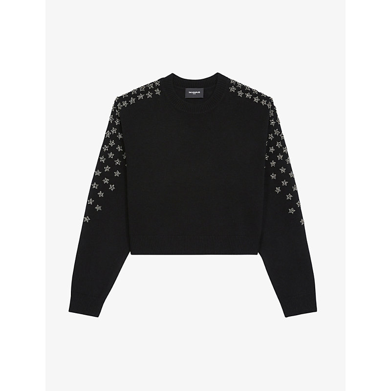 The Kooples STAR-EMBROIDERED WOOL AND CASHMERE-BLEND JUMPER