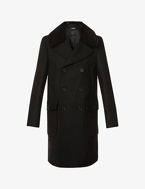 THE KOOPLES: Faux-fur collar wool-blend coat