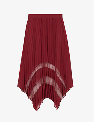 THE KOOPLES: Pleated lace and crepe skirt