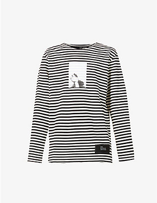 ISABEL BENENATO: Striped graphic-print cotton-knit jumper