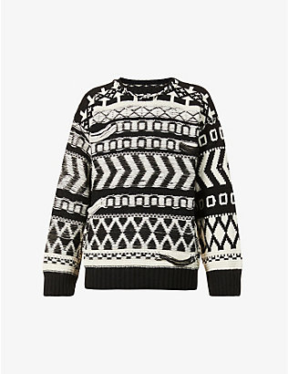 ISABEL BENENATO: Abstract-pattern crewneck alpaca-blend jumper