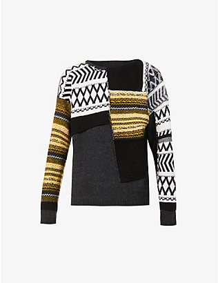 ISABEL BENENATO: Patchwork colour-blocked wool jumper