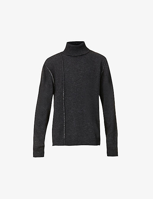 ISABEL BENENATO: Turtleneck raw-seam alpaca-blend jumper