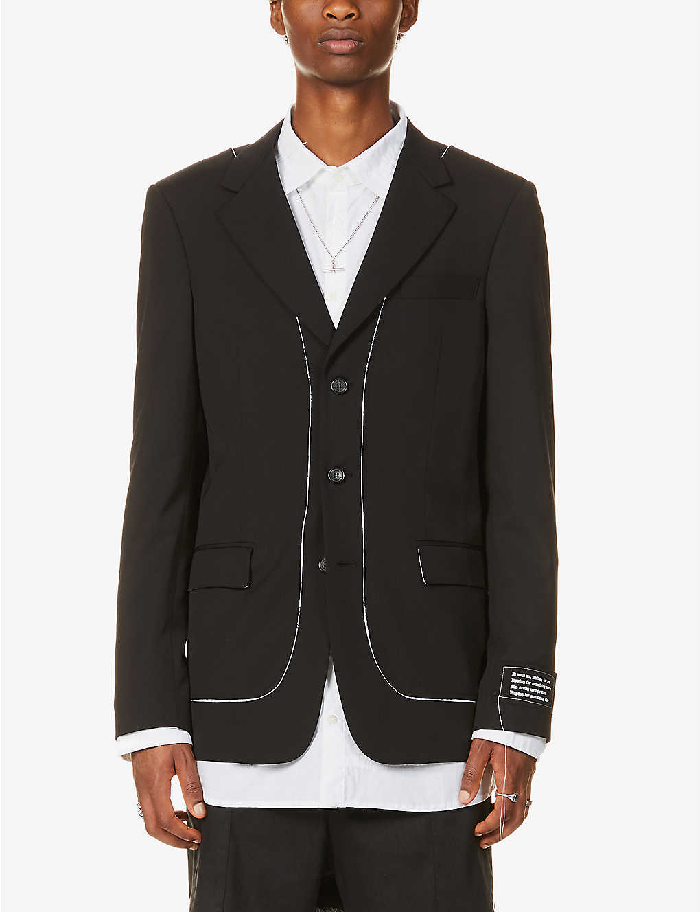 ISABEL BENENATO: Contrast-stitch single-breasted wool blazer