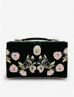 THE ALKEMISTRY: WOLF Luxury Forest floral-embroidered velvet jewellery box