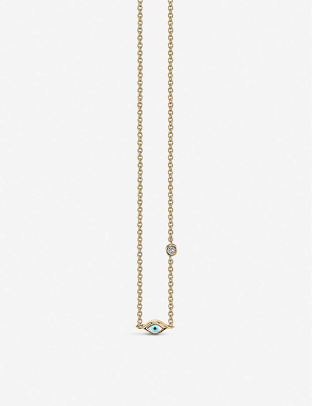 THE ALKEMISTRY: Sydney Evan Evil Eye 14ct yellow-gold and diamond mini necklace