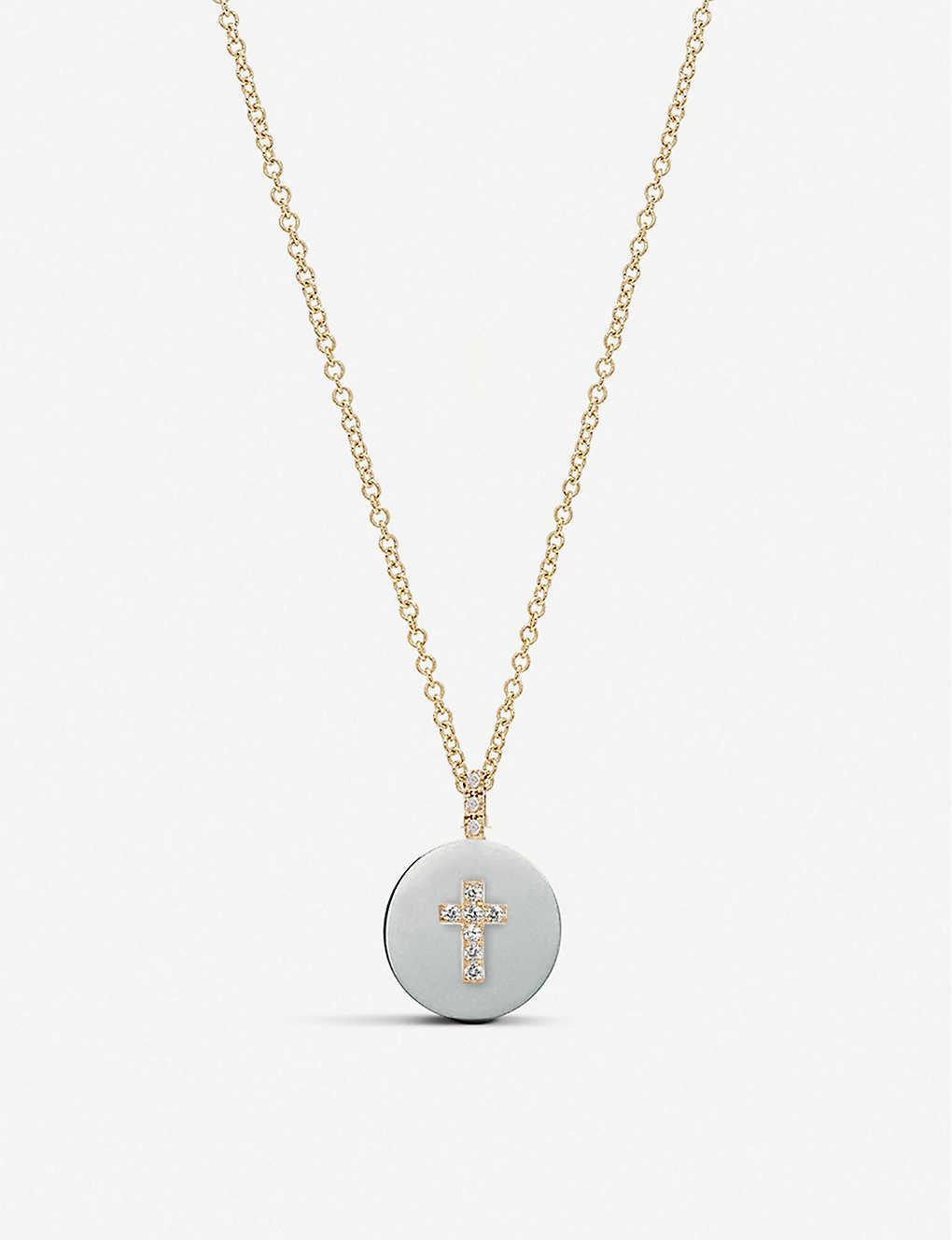 THE ALKEMISTRY: Noush 14ct and diamond cross necklace
