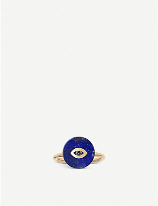 THE ALKEMISTRY: Noush 14ct gold and lapis lazuli evil eye ring