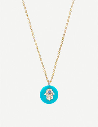 THE ALKEMISTRY: Noush 14ct gold, turquoise and diamond hamsa hand necklace