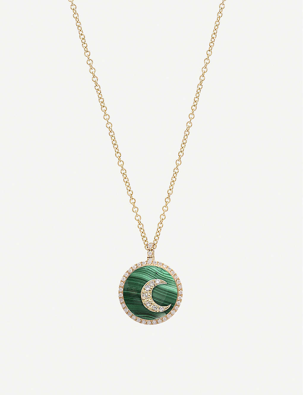 THE ALKEMISTRY: Noush 14ct gold, malachite and diamond moon necklace