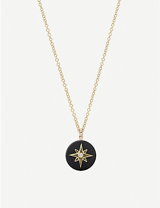 THE ALKEMISTRY: Noush 14ct gold, onyx and diamond North star necklace