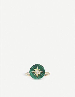 THE ALKEMISTRY: Noush 14ct gold, malachite and diamond North star ring