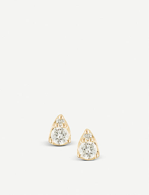 THE ALKEMISTRY: Dana Rebecca Sophia Ryan 14ct yellow-gold and diamond stud earrings
